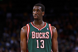 Mar 16, 2012; Oakland, CA, USA; Milwaukee Bucks forward Ekpe Udoh (13) during a stoppage in play against the Golden State Warriors during the fourth quarter at Oracle Arena. Milwaukee defeated Golden State 120-98. Mandatory Credit: Jason O. Watson-US PRESSWIRE