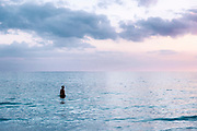 Solitary man in tropical ocean water, Siesta Key Beach, Florida, USA.