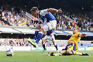 Picture by Richard Calver/Focus Images Ltd +447792 981244<br /> 28/09/2013<br /> Aaron Cresswell of Ipswich Town and Matthew Upson of Brighton and Hove Albion during the Sky Bet Championship match at Portman Road, Ipswich.