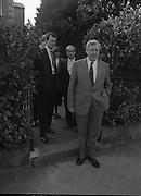 Garret Fitzgerald Stands Down As Fine Gael Leader.(R52)..1987..11.03.1987..03.11.1987..11th March 1987..After the loss at the recent general election Dr Garret Fitzgerald took the decision to resign as leader of the Fine Gael Party...Image shows Dr Fitzgerald leaving his home at Palmerstown Road, Dublin, on his way to Jury's Hotel for his press conference. Included in the picture are Mr Peter White and Mr Finbar Fitzpatrick both of Fine Gael Head Office.
