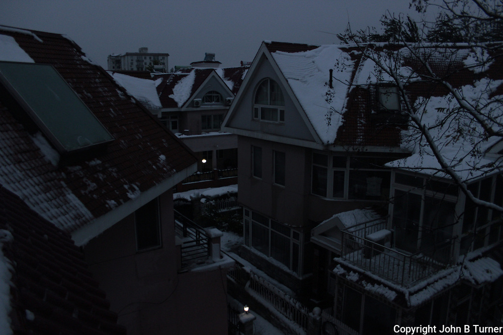 First, early morning view of the first snow of winter, Beiqijiazhen, Changping District, Beijing, China