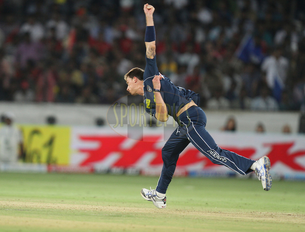 Dale Steyn of Deccan Chargers on his follow through after bowling during match 11 of the Indian Premier League ( IPL ) between the Deccan Chargers and the Royal Challengers Bangalore held at the Rajiv Gandhi International Cricket Stadium in Hyderabad on the 14th April 2011...Photo by Parth Sanyal/BCCI/SPORTZPICS