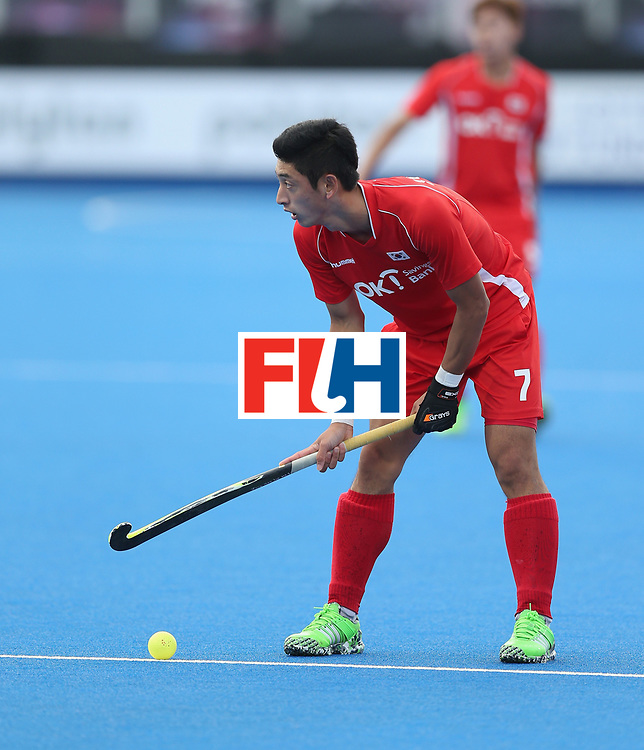 LONDON, ENGLAND - JUNE 16:  Manjae Jung of Korea during the FIH Mens Hero Hockey Champions Trophy match between Korea and Germany at Queen Elizabeth Olympic Park on June 16, 2016 in London, England.  (Photo by Alex Morton/Getty Images)
