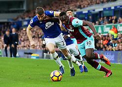 Michail Antonio of West Ham United takes on Seamus Coleman of Everton - Mandatory by-line: Matt McNulty/JMP - 30/10/2016 - FOOTBALL - Goodison Park - Liverpool, England - Everton v West Ham United - Premier League