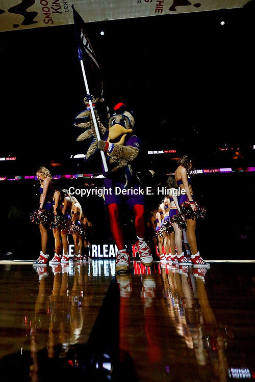 Jan 29, 2017; New Orleans, LA, USA; New Orleans Pelicans mascot Pierre the Pelican pumps up the crowd during introductions before a game against the Washington Wizards  at the Smoothie King Center. Mandatory Credit: Derick E. Hingle-USA TODAY Sports