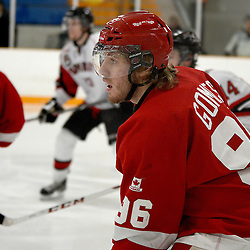 STOUFFVILLE, ON - Feb 2 : Ontario Junior Hockey League Game Action between the Stouffville Spirit Hockey Club and the Hamilton Red Wings Hockey Club.  Nathan Gomes #96 of the Hamilton Red Wings Hockey Club during third period game action.<br /> (Photo by Michael DiCarlo / OJHL Images)