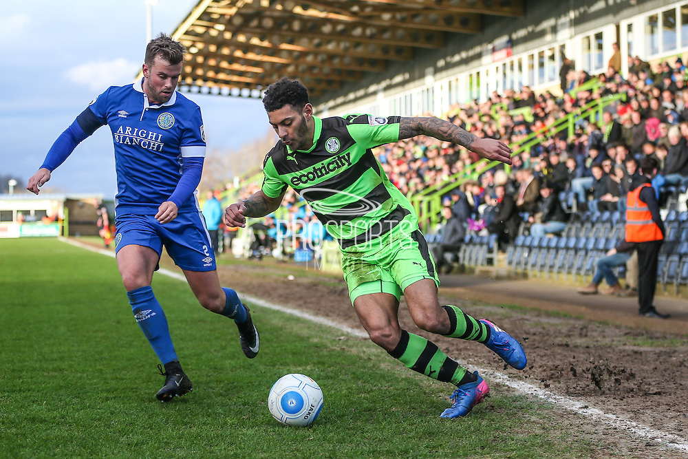 Forest Green Rovers Kaiyne Woolery(14) runs forward during the Vanarama National League match between Forest Green Rovers and Macclesfield Town at the New Lawn, Forest Green, United Kingdom on 4 March 2017. Photo by Shane Healey.