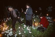 Romania. Putna cemetery. easter night in the cemetery         / nuit de pâques au cimetière/  Putna  Roumanie