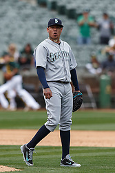 OAKLAND, CA - MAY 04: Felix Hernandez #34 of the Seattle Mariners reacts after two runs score on an error by Kyle Seager (not pictured) against the Oakland Athletics during the fifth inning at the Oakland Coliseum on May 4, 2016 in Oakland, California. (Photo by Jason O. Watson/Getty Images) *** Local Caption *** Felix Hernandez