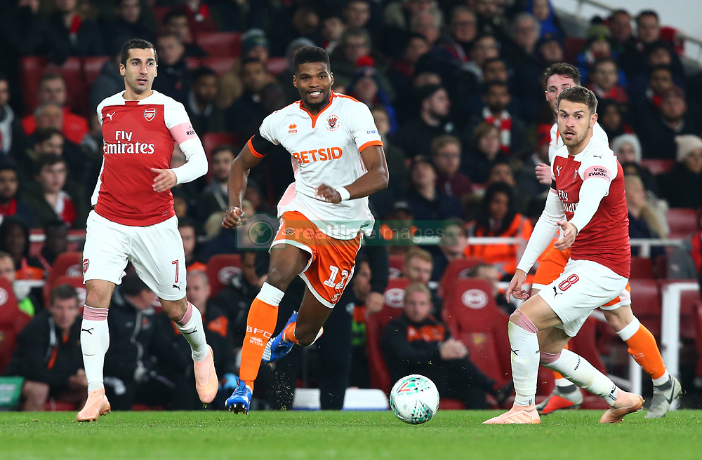 October 31, 2018 - London, England, United Kingdom - London, UK, 31 October, 2018.Blackpool's Ryan McLaughlin (White).During Carabao Cup fourth Round between Arsenal and Blackpool at Emirates stadium , London, England on 31 Oct 2018. (Credit Image: © Action Foto Sport/NurPhoto via ZUMA Press)