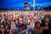 The crowd at the main stage. WOMAD 2014, festival of world music and dance, Charlton Park, Wiltshire. UK.