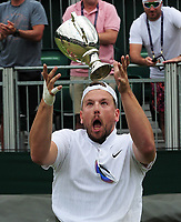 Tennis - 2019 Wimbledon Championships - Week Two, Saturday (Day Twelve)<br /> <br /> Men's Final of the Quad Wheelchair singles<br /> <br /> Dylan Alcot (AUS) v Andy Lapthorne (GBR)<br /> <br /> Dylan Alcot celebrates by throwing the trophy in the air, on Court 12.<br /> <br /> COLORSPORT/ANDREW COWIE