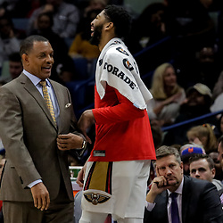 Nov 19, 2018; New Orleans, LA, USA; New Orleans Pelicans head coach Alvin Gentry and forward Anthony Davis (23) during the fourth quarter against the San Antonio Spurs at the Smoothie King Center. Mandatory Credit: Derick E. Hingle-USA TODAY Sports
