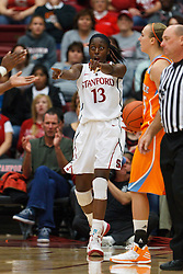 Dec 20, 2011; Stanford CA, USA;  Stanford Cardinal forward Chiney Ogwumike (13) reacts after a play against the Tennessee Lady Volunteers during the second half at Maples Pavilion.  Stanford defeated Tennessee 97-80. Mandatory Credit: Jason O. Watson-US PRESSWIRE