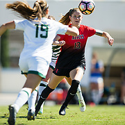 22 October 2017:  The San Diego State women's soccer team plays it last home game of the season against Colorado State at the Aztec Sports Deck. The Aztecs beat the Rams 3-0.<br /> www.sdsuaztecphotos.com
