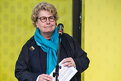 London, UK. 23rd March, 2019. Sandy Toksvig, co-founder of the Women's Equality Party, addresses a million people taking part in a People's Vote rally in Parliament Square following a march from Park Lane.