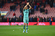 Granit Xhaka (34) of Arsenal applauds the Arsenal fans at full time after the 2-1 win over Bournemouth during the Premier League match between Bournemouth and Arsenal at the Vitality Stadium, Bournemouth, England on 25 November 2018.