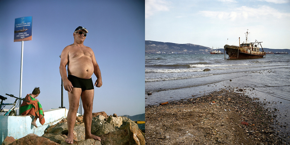 Valentino from Korce, Albania in Fonias beach. Elefsina, Saronic Gulf, West Attica.  A shipwreck, next to Halyvourgiki steel mill. Aspropyrgos, Saronic Gulf, Western Attica