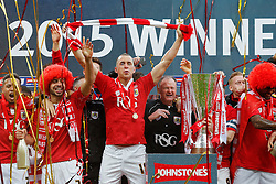 Aaron Wilbraham celebrates as Bristol City players lift the Football League Trophy after thay win the match 2-0 - Photo mandatory by-line: Rogan Thomson/JMP - 07966 386802 - 22/03/2015 - SPORT - FOOTBALL - London, England - Wembley Stadium - Bristol City v Walsall - Johnstone's Paint Trophy Final.