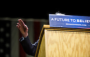 "U.S. Democratic Presidential candidate Senator Bernie Sanders (I-Vt.) gestures from the podium at the ""Future to Believe In"" Rally at the Kohl Center in Madison, Wisconsin April 3, 2016."