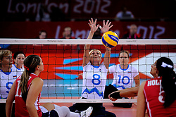 01-09-2012 ZITVOLLEYBAL: PARALYMPISCHE SPELEN 2012 USA - SLOVENIE: LONDEN<br />In ExCel South Arena wint USA van Slovenie / Danica GOSNAK<br />©2012-FotoHoogendoorn.nl