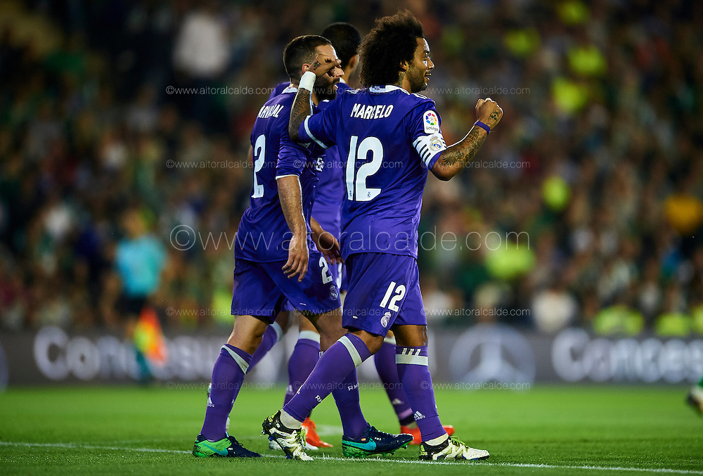 SEVILLE, SPAIN - OCTOBER 15:  Marcelo of Real Madrid CF celebrates after scoring during the match between Real Betis Balompie and Real Madrid CF as part of La Liga at Benito Villamrin stadium October 15, 2016 in Seville, Spain.  (Photo by Aitor Alcalde/Getty Images)