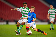 Kai Kennedy (#10) of Rangers FC holds off Karmamoko Dembele (#7) of Celtic FC during the Scottish FA Youth Cup Final match between Celtic and Rangers at Hampden Park, Glasgow, United Kingdom on 25 April 2019.