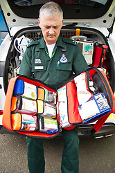 Pictured: Ian Stark checks the new pack of medicines that the specialist paramedics have been traed to dispense. <br /> <br /> Health Secretary Shona Robison met paramedics today on a visit to Scottish Ambulance Service's city station where she announced new funding for the service<br /> Ger Harley | EEm 24 April 2017