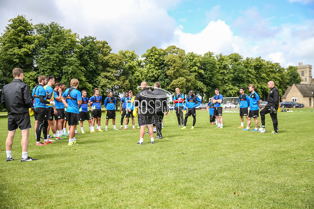 Forest Green Rovers squad during the Forest Green Rovers Training at the Cirencester Agricultural College, Cirencester, United Kingdom on 12 July 2016. Photo by Shane Healey.