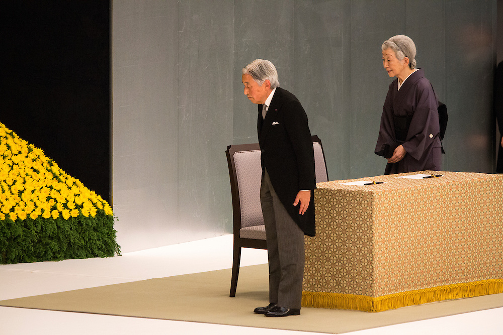 TOKYO, JAPAN - AUGUST 15 : Emperor Akihito and Empress Michiko pay respects during the memorial service at the Nippon Budokan on the 71st anniversary of the Japan's war surrender on August 15, 2016 in Tokyo, Japan. (Photo by Richard Atrero de Guzman/NURPhoto)