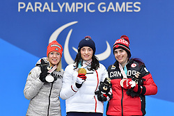 BOCHET_Marie, ROTHFUSS_Andrea, RAMSAY_Alana, ParaSkiAlpin, Para Alpine Skiing, Super G, Podium at PyeongChang2018 Winter Paralympic Games, South Korea.