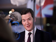 Conservative Party Conference, ICC, Birmingham, Great Britain <br /> Day 2<br /> 8th October 2012 <br /> <br /> Rt Hon George Osborne MP<br /> Chancellor of the Exchequer <br /> giving TV interviews <br />  <br /> <br /> <br /> Photograph by Elliott Franks<br /> <br /> <br /> Tel 07802 537 220 <br /> elliott@elliottfranks.com<br /> <br /> ©2012 Elliott Franks<br /> Agency space rates apply