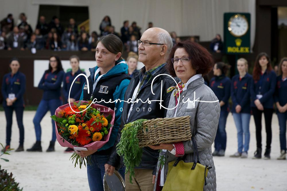 Kay Neatham, groom Plot Blue, Kathrin Somogyi, owner Plot Blue <br /> Farewell Plot Blue<br /> Genève 2015<br /> © Hippo Foto - Dirk Caremans<br /> 11/12/15