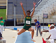 Norfolk State freshman Champagne Bell finishes second in the Women's Long Jump at the 2011 MEAC Track and Field Championship held at North Carolina A&T in Greensboro, North Carolina.  (Photo by Mark W. Sutton)