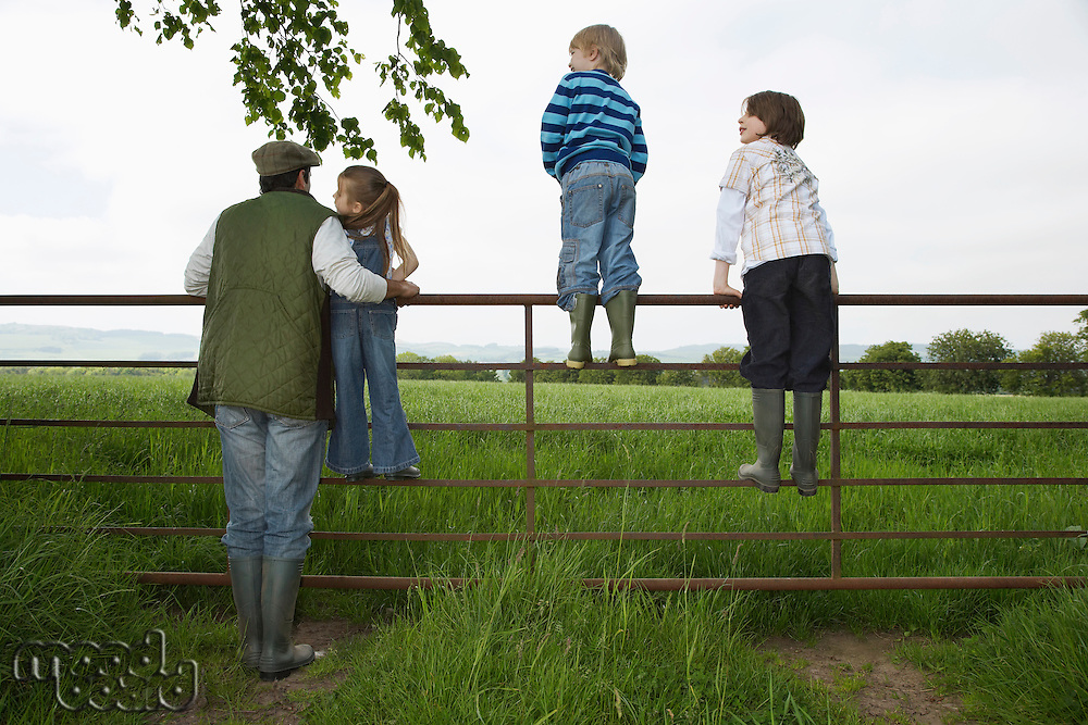 Father with three children (5-9) standing on fence in countryside