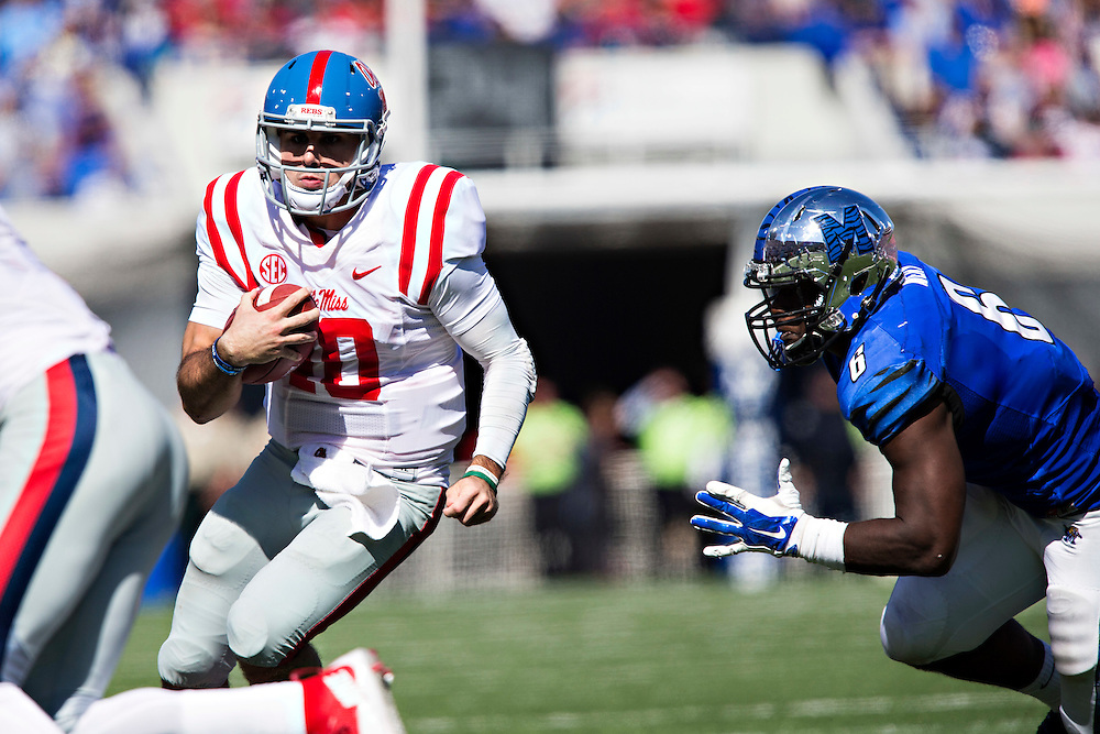 MEMPHIS, TN - OCTOBER 17:  Chad Kelly #10 of the Ole Miss Rebels runs the ball during a game against the Memphis Tigers at Liberty Bowl Memorial Stadium on October 17, 2015 in Memphis, Tennessee.  The Tigers defeated the Rebels 37-24.  (Photo by Wesley Hitt/Getty Images) *** Local Caption *** Chad Kelly