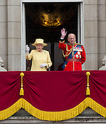 Picture shows HM The Queen and The Duke of Edinburgh on the balcony of Buckingham Palace.<br /> <br /> Soldiers of the Household Division were on parade today to mark the Queen&rsquo;s Official Birthday on Saturday, 16th June on Horse Guards Parade at the ceremony known as Trooping the Colour. 16/06/2012<br /> <br /> Credit should read: L/Cpl Mark Larner RY/MOD<br /> <br /> This year, the Colour trooped in the presence of Her Majesty The Queen, was that of the 1st Battalion Coldstream Guards. The Duke of Edinburgh and the Royal Colonels (the Prince of Wales, The Duke of Cambridge, The Princess Royal and the Duke of Kent) were also be on parade.<br /> <br /> Over 1,600 Officers and Soldiers were also be on parade in the traditional uniforms of the Household Cavalry, Royal Horse Artillery, and Foot Guards.  Many more worked behind the scenes to ensure all goes smoothly.<br /> <br /> There were 241 horses on parade, and 290 musicians from 10 Bands &amp; Corps of Drums will march and play as one.  The famous Drum Horses of the Mounted Bands were also be on parade.