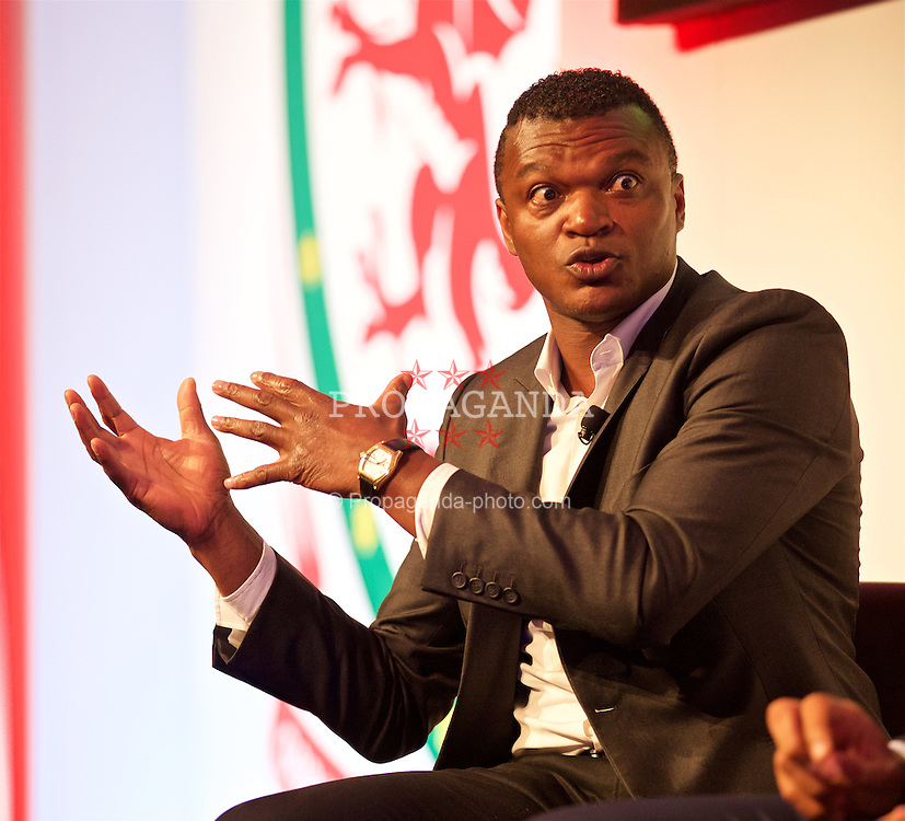 NEWPORT, WALES - Friday, May 20, 2016: Marcel Desailly during the Football Association of Wales' National Coaches Conference 2016 at the Celtic Manor Resort. (Pic by David Rawcliffe/Propaganda)