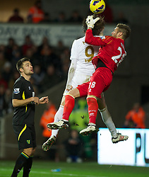 SWANSEA, WALES - Saturday, December 8, 2012: Swansea City's Miguel Perez Cuesta 'Michu' challenges Norwich City's goalkeeper Mark Bunn during the Premiership match at the Liberty Stadium. (Pic by David Rawcliffe/Propaganda)