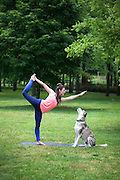 A young woman doing yoga in the park with her dog.