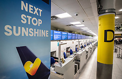 © Licensed to London News Pictures. 23/09/2019. Gatwick, UK. All Thomas Cook check-in desks are closed at Gatwick Airport after the travel firm collapsed overnight. The 178 year old travel operator has gone in to liquidation after rescue talks failed overnight. This will trigger the largest peacetime repatriation as more than 150,000 British holidaymakers will need to be brought home. Photo credit: Peter Macdiarmid/LNP