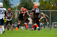 KELOWNA, BC - SEPTEMBER 8:  Tyson Mastrodimos #9, Kian Ishani #8 and Malcolm Miller #3 of Okanagan Sun celebrate a touchdown against the Langley Rams  at the Apple Bowl on September 8, 2019 in Kelowna, Canada. (Photo by Marissa Baecker/Shoot the Breeze)