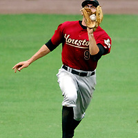 18 July 2007:  Houston Astros center fielder Hunter Pence (9) makes a running catch on a fly ball in the 6th inning hit by Washington Nationals third baseman Ryan Zimmerman.  The Nationals defeated the Astros 7-6 at RFK Stadium in Washington, D.C.  ****For Editorial Use Only****