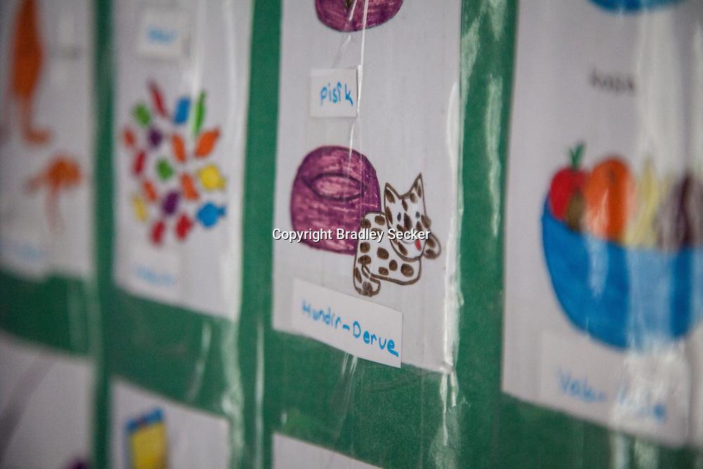 DIYARBAKIR, TURKEY. FEBRUARY 22, 2013 Teaching materials in Kurdish language on the walls of a state-run creche for Kurdish children in Diyarbakir.