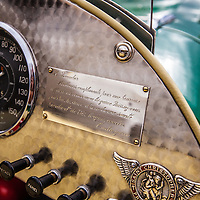 Engraved nameplate in the 1952 Allard, Planes and Cars at the Santa Fe Airport, 2013 Santa Fe Concorso.