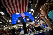 Reporters listen to Donald Trump at the debate. The Democrate and Republican nominees for US President, Hillary Rodham Clinton and Donald John Trump, met on Sep. 26th for the first head to head Presidential Debate at the Hofstra University in Long Island.