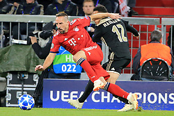 02.10.2018, CL, Champions League, FC Bayern Muenchen vs Ajax Amsterdam, Allianz Arena  Muenchen, im Bild:..Franck Ribery (FCB) vs Noussair Mazraoui ( Ajax Amsterdam)...DFL REGULATIONS PROHIBIT ANY USE OF PHOTOGRAPHS AS IMAGE SEQUENCES AND / OR QUASI VIDEO...Copyright: Philippe Ruiz..Tel: 089 745 82 22.Handy: 0177 29 39 408.e-Mail: philippe_ruiz@gmx.de. (Credit Image: © Philippe Ruiz/Xinhua via ZUMA Wire)