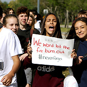 Students from Westglades Middle School walked out of their school in support of Marjory Stoneman Douglas High School students. They joined the walkout honoring the 17 victims killed one month ago on Valentine's Day. Nikolas Cruz is accused of using a semiautomatic AR-15 rifle to commit the murders. <br /> Photography by Jose More