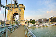 Eastern Europe, Hungary, Budapest, The Danube River The Chain Bridge
