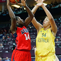 09 August 2012: USA Tina Charles goes for the layup over Australia Elizabeth Cambage during 86-73 Team USA victory over Team Australia, during the women's basketball quarter-finals, at the 02 Arena, in London, Great Britain.